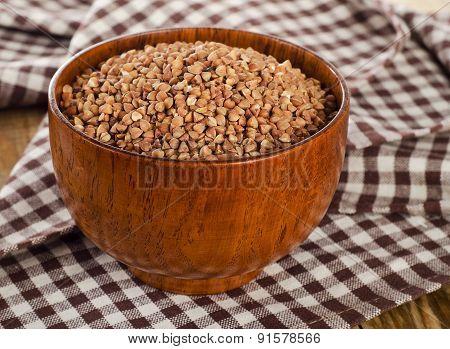 Buckwheat Groats In  Wooden Bowl.