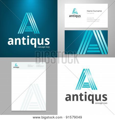 Design Icon  Element With Business Card And Paper Template