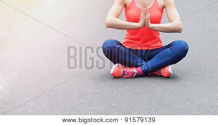 Healthy Lifestyle Fitness Sporty Woman Have A Meditation In The Early Morning