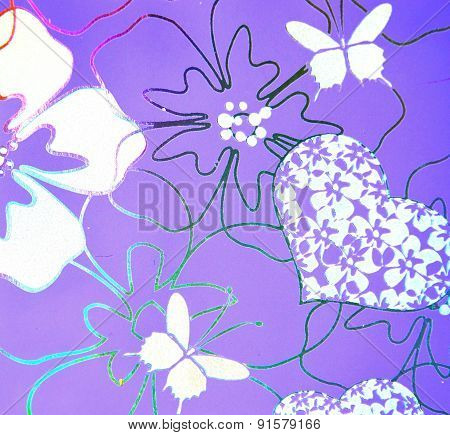 pattern with butterflies, flowers, hearts