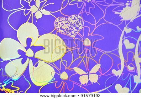 Flowers, hearts, butterfly over purple background. Hologram