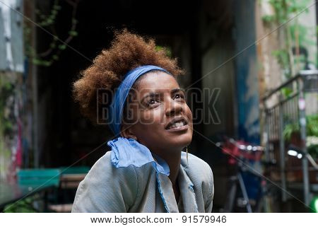 Young Happy Afro Woman In A Urban Scene