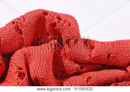 Orange Openwork Knitted Closeup
