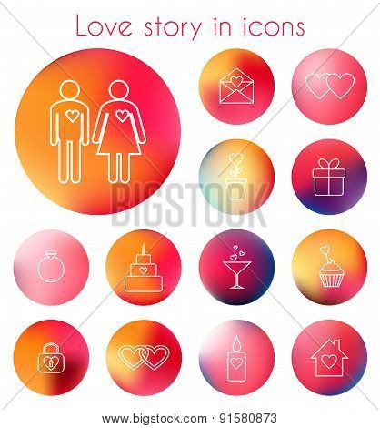 Love story in line icons