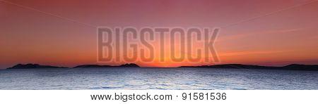 Cies Islands At Sunset.