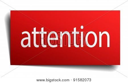 Attention Red Paper Sign Isolated On White