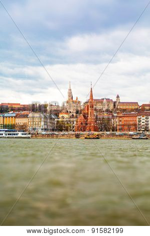 View of Buda side in Budapest with St. Matthias church