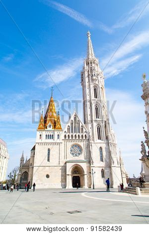 Tourists near Catholic Matthias Church, landmark of Budapest