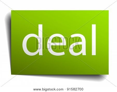 Deal Green Paper Sign On White Background