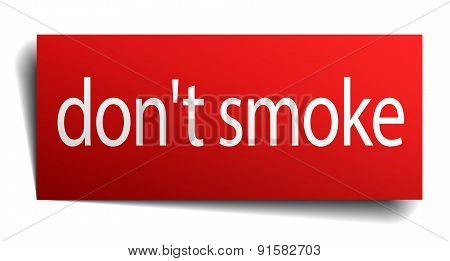 Don't Smoke Red Square Isolated Paper Sign On White