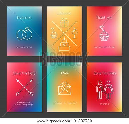 Set of vector blurred wedding cards