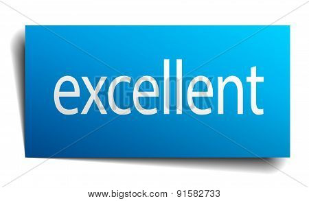 Excellent Blue Paper Sign On White Background