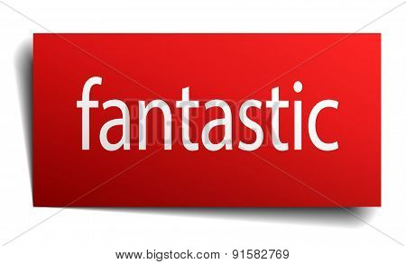 Fantastic Red Paper Sign On White Background