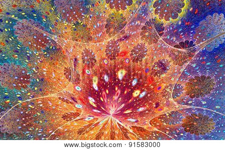 Fractal blue-red-orange background