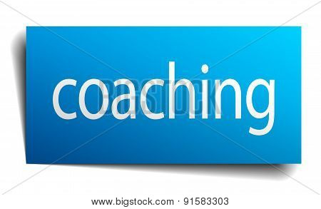 Coaching Blue Square Isolated Paper Sign On White