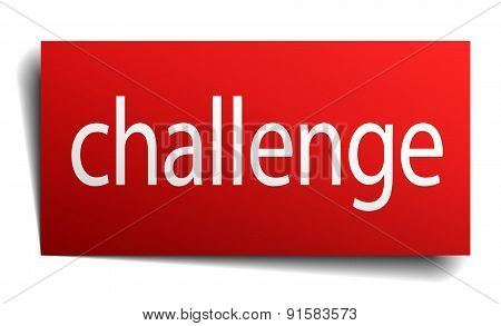 Challenge Red Paper Sign Isolated On White