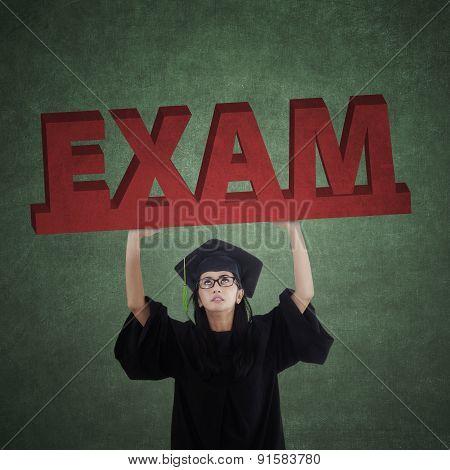 Bachelor Holds An Exam Text
