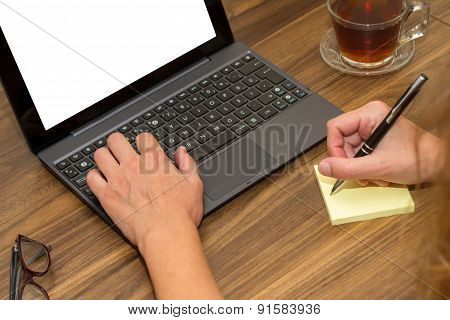 Business Woman Working On Office Table