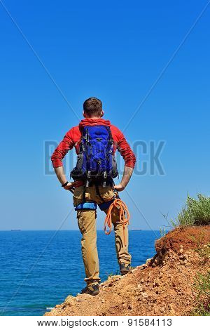 Man On Top Of Mountain