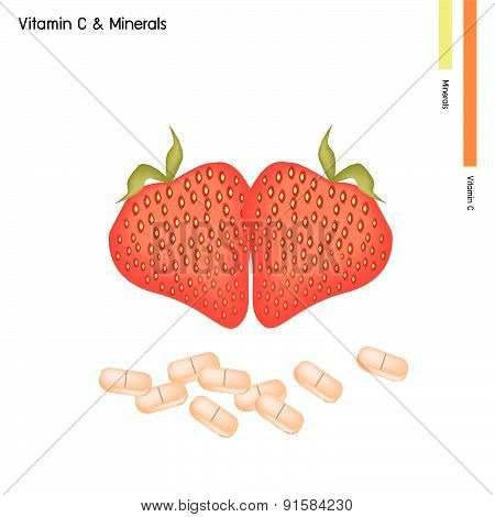 Strawberries With Vitamin C On White Background