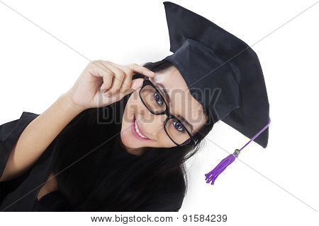 Excited Bachelor With Graduation Gown