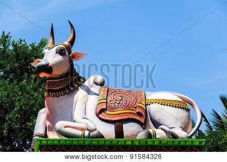 Nandi ~ Indian sacred bull statue on the entrance of Hindu Temple