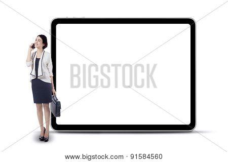 Female Worker And Blank Billboard