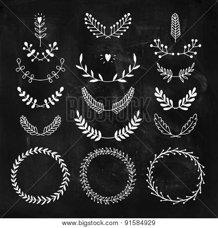 Set of vector handdrawn laurels and wreaths