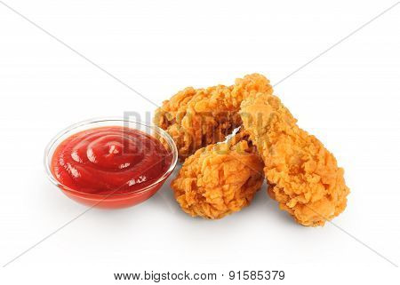 Fried In Batter Chicken Wings And Ketchup