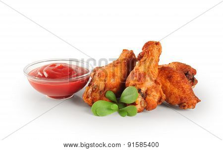 Fried Chicken Wings And Ketchup. Lettuce.
