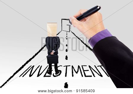 Hand Guiding Person To Investment Door