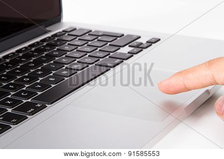 Finger Using Touch Pad On Laptop