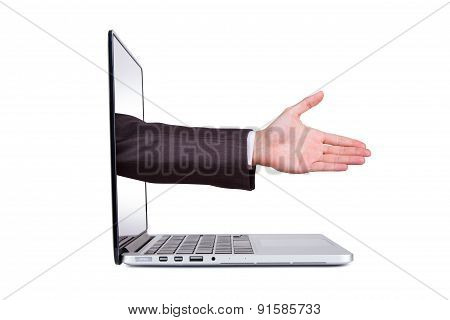 Hand Coming Out From Blank Screen