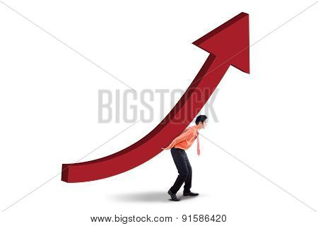 Male Investor With Investment Growth Chart
