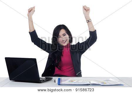 Pretty Businesswoman Celebrating Her Victory