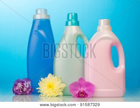 Cleaning items on blue