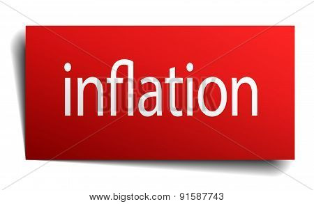 Inflation Red Square Isolated Paper Sign On White