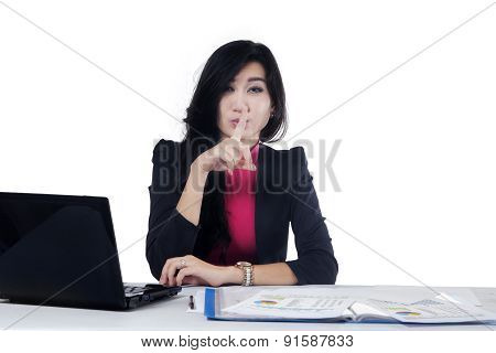 Worker Making Silent Symbol