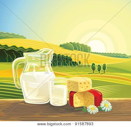 Countryside landscape with set of milk products.