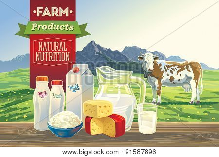 Set of milk products. With a cow, and mountain landscape.
