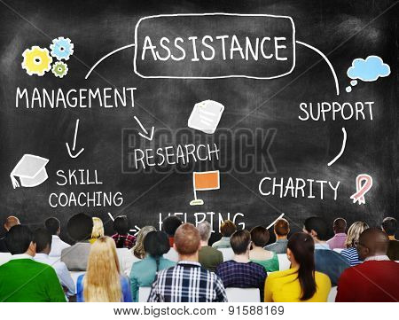 Assistance Support Partnership Helping Team Concept