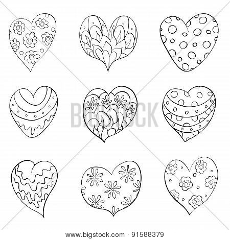 set of different isolated hearts. vector illustration
