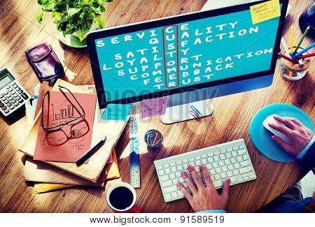 Customer Target Market Puzzle Crossword Concept