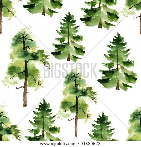 Watercolor trees seamless pattern on white background