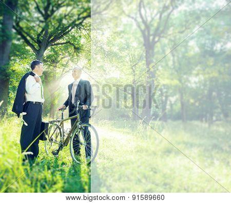 Green Business Businessmen Talking Environment Concept
