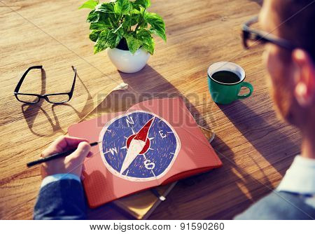 Compass Longtitude Latitude Navigation Direction Adventure Concept