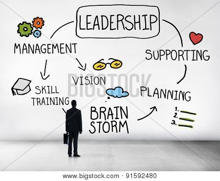 Leader Leadership supporting Management Vision Concept
