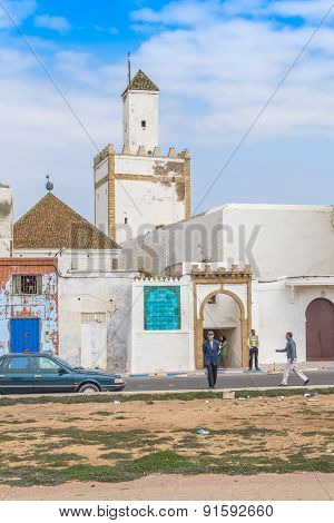 SAFI, MOROCCO, APRIL 6, 2015: Local people in front of mosque