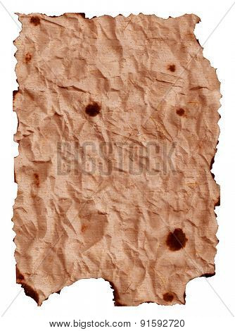 burnt crumpled paper sheet isolated on white background