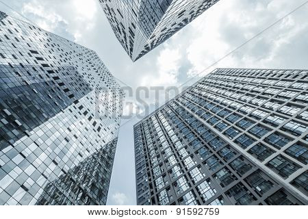 Chengdu,China-July 23,2014:low angle view of modern office buildings in chengdu.It's the epitome of fast development in southwest china.
